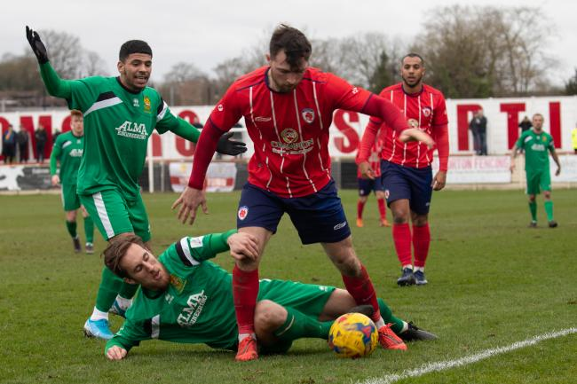 Bromsgrove Sporting's Jack Wilson in action on Saturday. Pic: Richard Chapman, Bromsgrove Photographic Society
