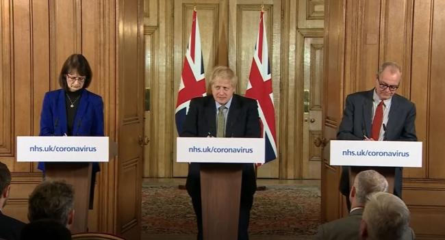 CLOSURE: Dr Jenny Harries, Prime Minister Boris Johnson and Chief Scientific Adviser Sir Patrick Vallance, speaking at a media briefing in Downing Street, London, on coronavirus (COVID-19) as NHS England announced that the coronavirus death toll had reach