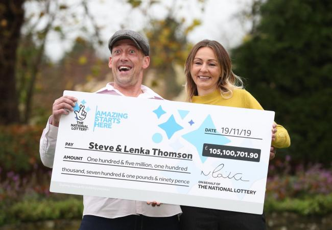THIS COULD BE YOU: Self-employed builder Steve Thomson, 42, and his wife Lenka Thomson, 41, celebrate their 105 million EuroMillions win in November