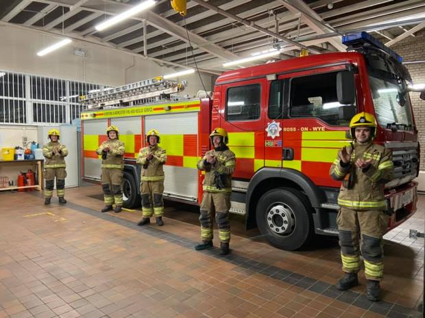 Worcester News: Firefighters in Ross-on-Wye join the Clap For Our Carers tribute to NHS workers on the front line against coronavirus. Picture: Ross Fire Station