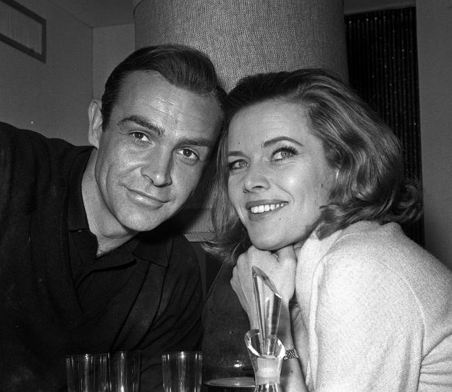 Honor Blackman, who played Pussy Galore, alongside co-star Sean Connery, who played James Bond. Picture: PA Wire