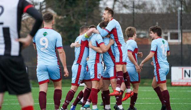 FOOTBALL: Celebrations for Malvern Town in their 3-1 home win over Malmesbury Victoria. Pic. Cliff Williams