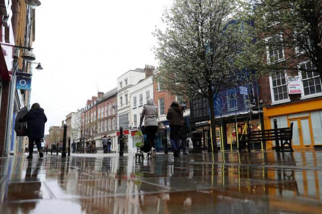 RUSH HOUR: Worcester High Street quiet during the normally busy lunch hour. Picture: David Davies/PA Wire