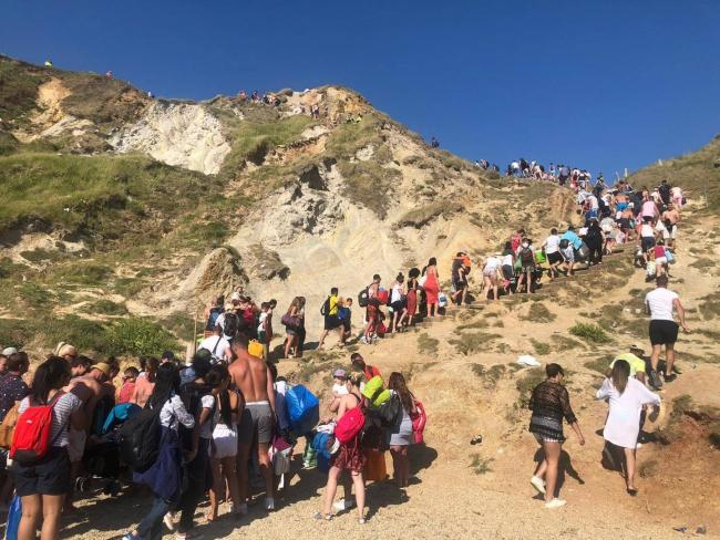 The beach is evacuated   PIcture: Purbeck Police