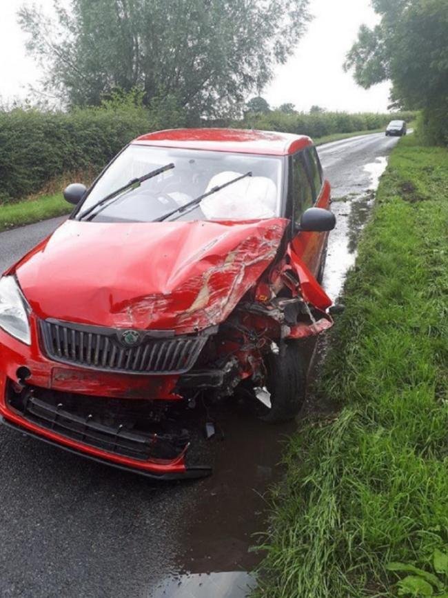 CRASHED: The police image of Gallagher's crashed Skoda that she left at the scene. Picture: West Mercia Police