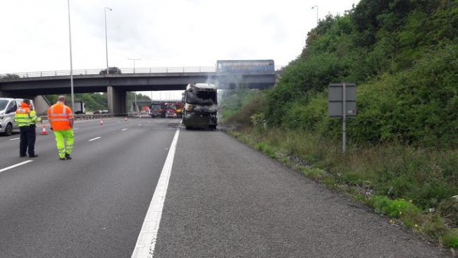 FIRE: The lorry caught fire on the M5