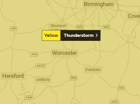 THUNDERSTORMS: Yellow weather warning issued in Worcestershire
