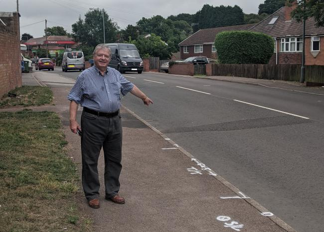 CROSSING: Councillor Amos at the site of the new pedestrian crossing being installed on Tolladine Road
