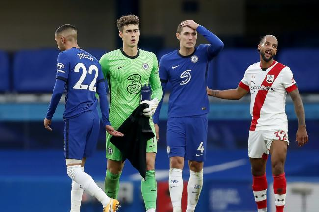 Kepa Arrizabalaga, second left, endured a torrid afternoon at Stamford Bridge