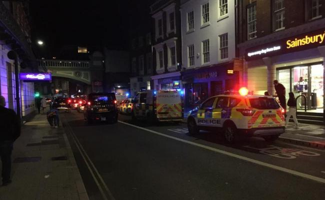 Heavy police presence outside Worcester Foregate Street train station on Saturday night