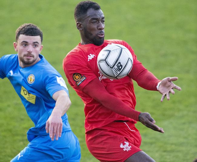 Amari Morgan-Smith - opened his account for the season at Brackley. Image: Paul France.