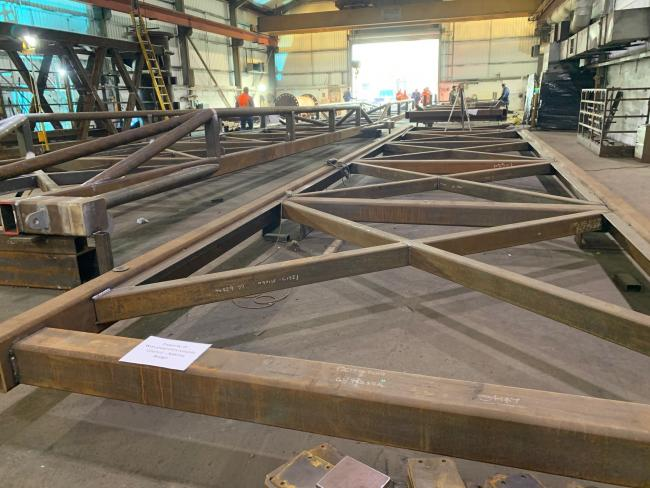 REFURBISHMENT: Pieces of Sabrina Bridge in the workshop being restored. Picture: Worcs County Council