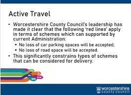 LEAKED: A slide from a leaked presentation by Worcestershire County Council which refer to political red lines in cycling and walking policies