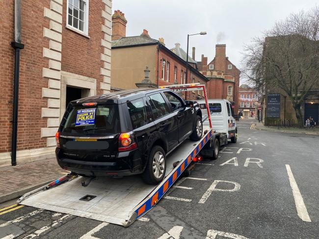 MISTAKE: The car is towed away after a misunderstanding over insurance. Photo via Twitter: @SWorcsCops
