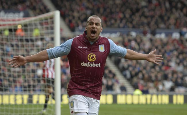 Aston Villa's Gabriel Agbonlahor celebrates his goal during the Barclays Premier League match at the Stadium of Light, Sunderland. PRESS ASSOCIATION Photo.