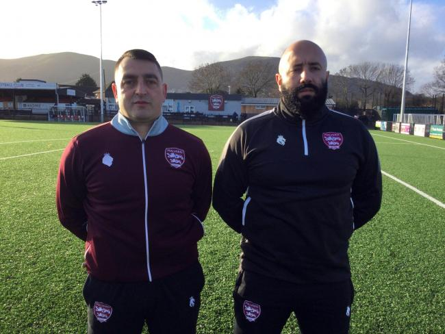 Pictured is Georgio Raev (left) and Tsanko Ruschev (right) ahead of malvern Town's recent Buildbase FA Vase tie with Sporting Khalsa.