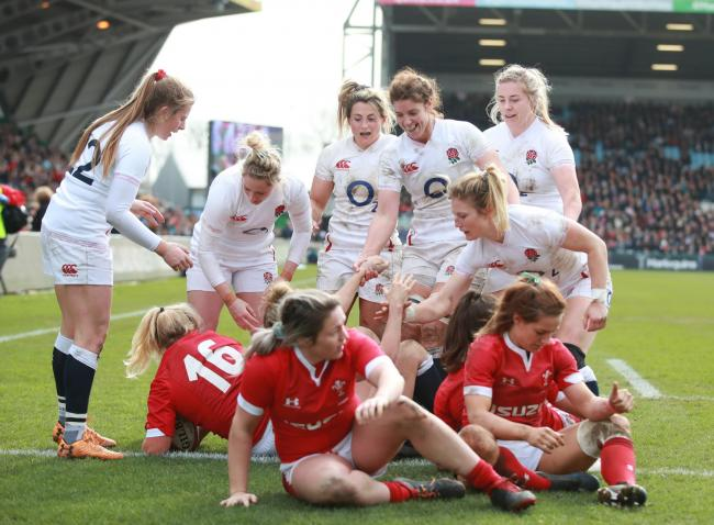England's players celebrate a try during the Women's Six Nations match at Twickenham Stoop, London. PA Photo. Picture date: Saturday March 7, 2020. See PA story RUGBYU England Women. Photo credit should read: Adam Davy/PA Wire. RESTRICTIONS: Edito
