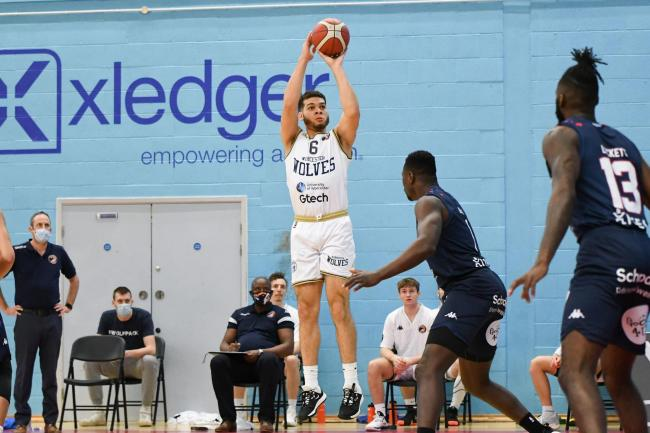 Jordan Williams contributed 18 points in Worcester Wolves' 73-76 win over Bristol Flyers on Sunday. Pic: JS Sport Photography