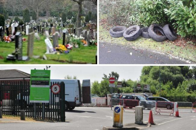 FLYTIPPERS: Around 30 used tyres were flytipped at Worcester Cemetery earlier this year