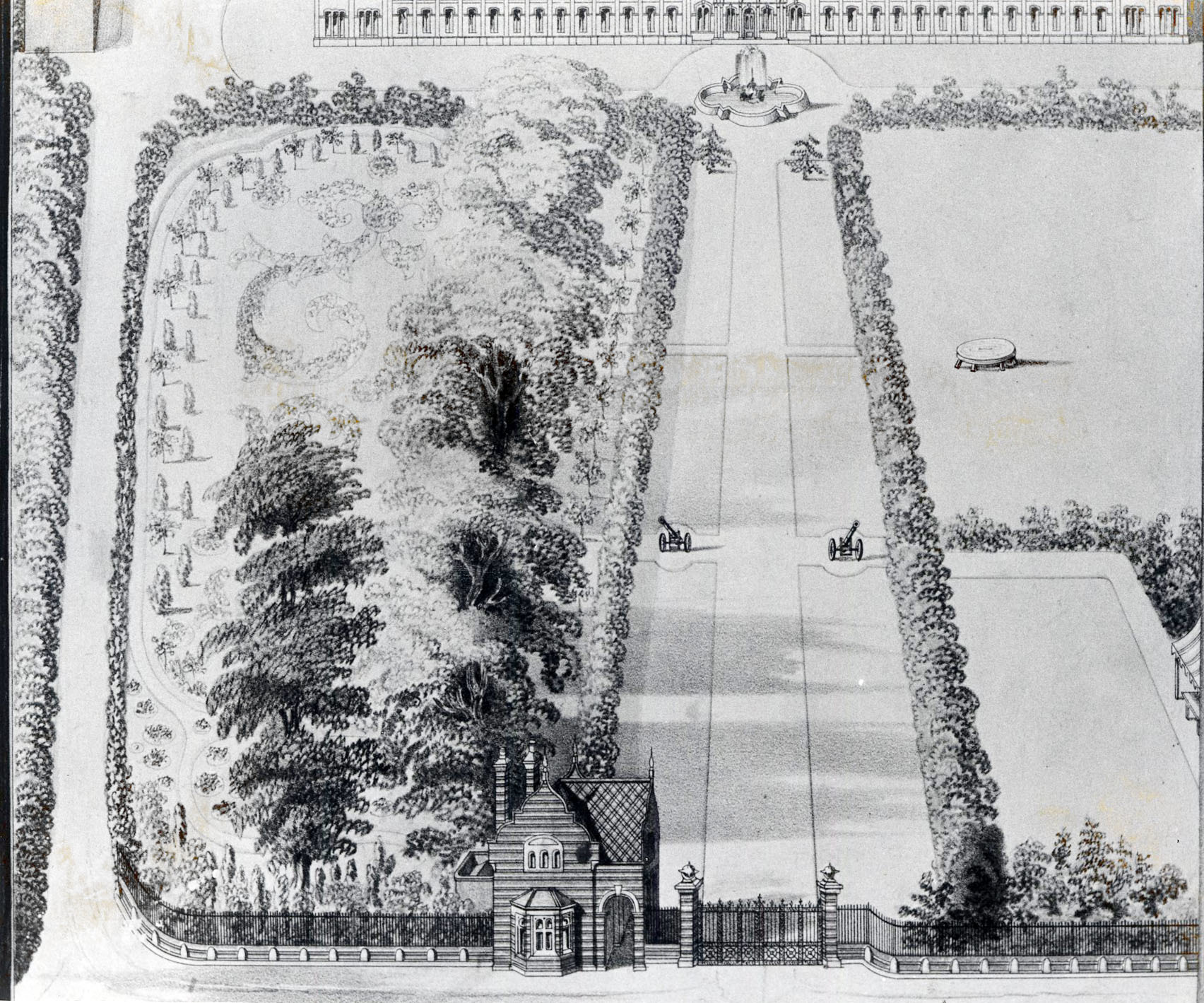 The pleasure grounds from Sansome Walk as they would have looked in around 1865