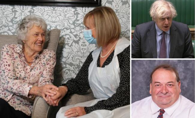 VISITS: Care home residents will be allowed to nominate one person for regular visits; PM Boris Johnson and Cllr Adrian Hardman (bottom right)