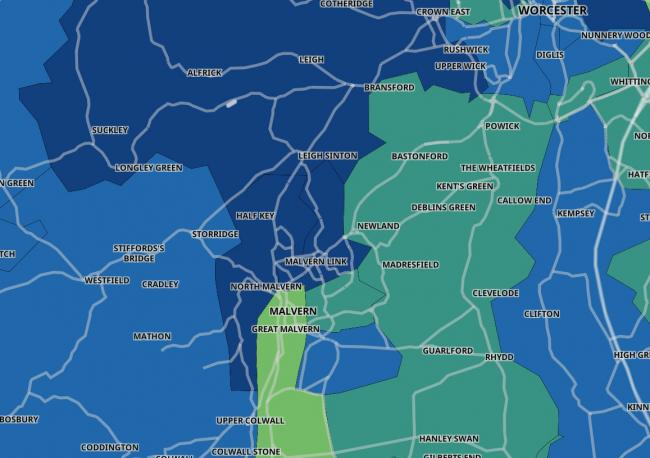 HOTSPOT: Malvern Link has the second highest infection rate in the county according to Public Health England's coronavirus hotspot map
