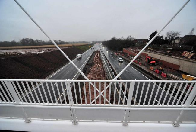 Flashback to some 16 months ago, when the new footbridge over Crookbarrow Way opened. Our letter writer is suggesting permanent crash barriers are installed next to the pedway/cycle path