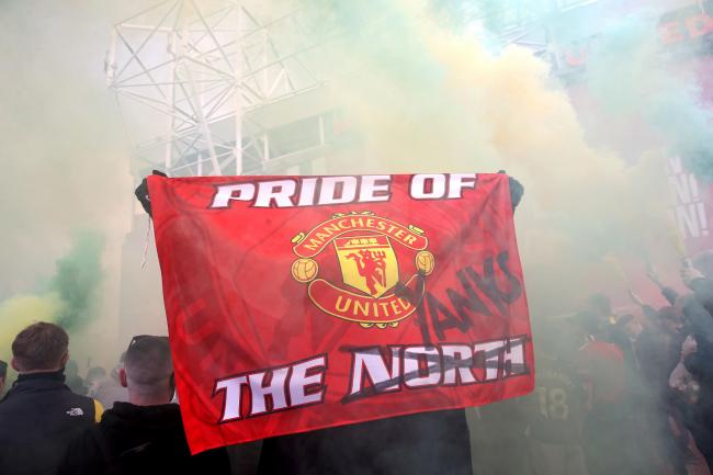 Manchester United fans protest against the Glazer family, owners of the club