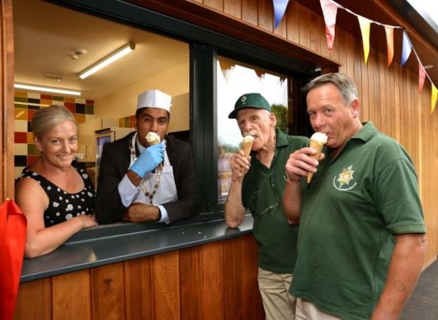 Worcester News: WNJAPavillion..Opening of new Pavillion in Gheluvelt Park on Thursday by Worcester Mayor Jabba Riaz. Mayor, Jabba Riaz with Roisin Hanks from the Duckworth Trust serve the first ice creams from the Pavillion to Nigel Fish and Maurice Smith