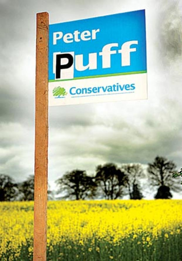 SIGN: A defaced Peter Luff election sign near Ombersley.