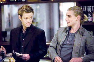 GREAT FUN: Thijs Morris, right, with Adam Ricketts of Coronation Street fame in New Zealand soap opera Shortland Street.