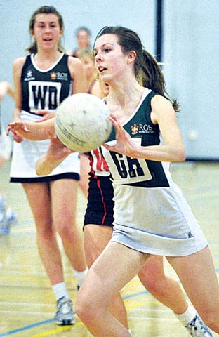 SKILLS ON SHOW: Chloe Burrow in action for RGS Worcester during the school's Superball at the city university.