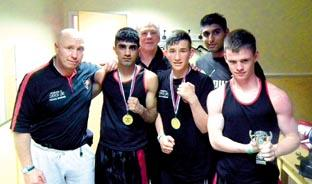 SUCCESSFUL SHOW: Worcester ABC's (left to right): Steve Brown (coach), Annis Shabir, Mick Underwood (coach), Trent Smith, Amar Hussian and Jon Roberts.
