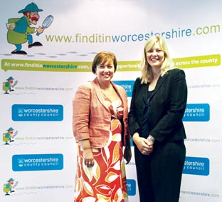 FULL ENGLISH: Karen Woodward, left, of the National Apprenticeship Service, with Kathryn Wagstaff, project manager of Finditinworcestershire at the apprentice-themed breakfast meeting.