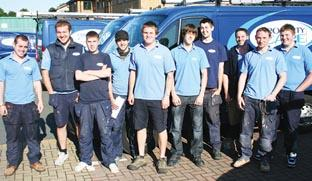 MILES OF SMILES:  Apprentices who have gone on to take up positions within Property Care Partnership. From left, Michael Whalley, Kris Kriesel, Craig Phillpots, Sam Benson, Tom Rose, Sean Dixon, Russell Cook, Richard Cooper, Simon Johnson and Tom Bates. I