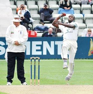 STEAMING IN: County pace bowler Kemar Roach at New Road.