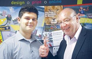 THUMBS UP: Apprentice Alex Williams with Guy Marson, director of Modus Creative in Foregate Street, Worcester.