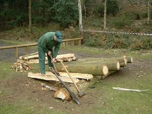 TRAINING: Albert Link is pictured splitting Wyre oak to make fence posts as part of the series of workshops.