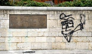 SPRAY PAINT: Evesham's War Memorial which has been covered in drug-related graffiti.