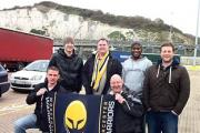 BON VOYAGE: (l-r) Worcester fans John Chaffe, Brian Ryan, Chim Gale, Tom Ryder, Simon Lane and Guy Marson make a brief stop during their trip to Paris for Saturday's Amlin Challenge Cup clash against Stade Francais.