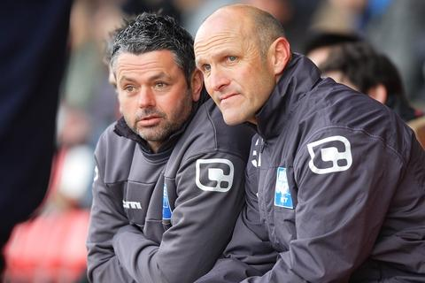 Harriers boss Steve Burr (right) was amazed Harriers couldn't top a dominant display with goals. Picture: ADRIAN HOSKINS