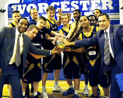 TOP MAN: Wolves players and coaches celebrate the February BBL player-of-the-month award for Tommy Freeman (centre).