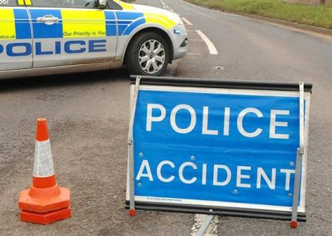 Road closed after car smash