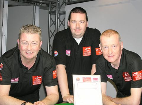 ON CUE: World Snooker coach Chris Lovell, Kev Ellis and six-times world champion Steve Davis.