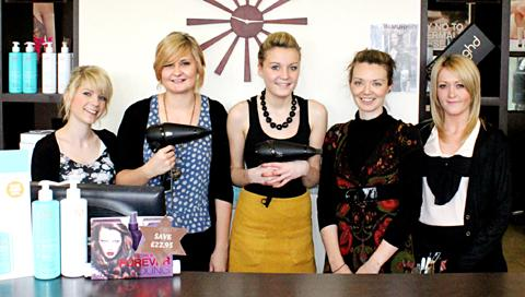COME AND JOIN US: Staff at the Avant Garde salon in Warndon Villages, Worcester, could be joined by an apprentice as they have launched a competition to search for one. From left: Claire Carter, Aimee Boulton, Chelsie Wilson, Naomi Beswick, Natalie Allen.