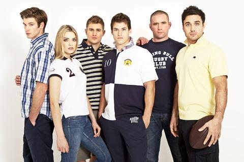 LEADER OF THE PACK: Phil Vickery, second right, with models wearing examples of his Raging Bull brand.