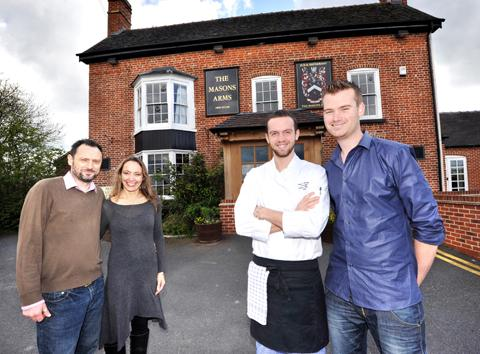 New owners Nibs and Laura Grist with head chef Marek Ivasienko and bar manager Tom Clement