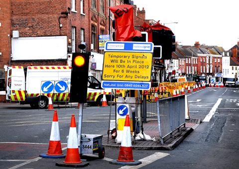 FAMILIAR STORY: National Grid roadworks in the Tything, Worcester (15012010)