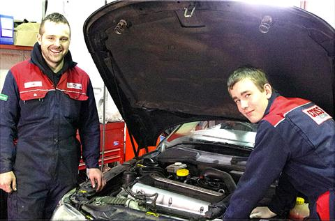 opportunity: Cross Motor Engineering's Luke Cross with apprentice Matthew Quinney.