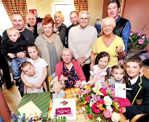 PARTY: Vera George celebrated her 100th birthday with a family party. Picture by John Anyon.